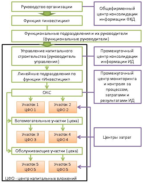 Дифференциация ЦФО инвестиционной деятельности в линейно-функциональной организационной структуре управления организации-инвестора