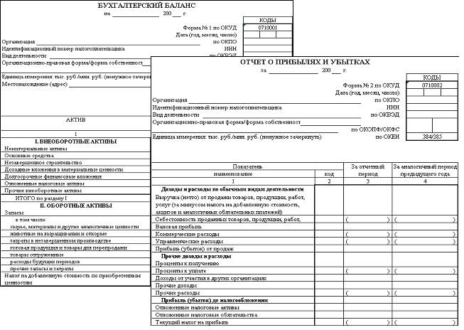 Примеры основных форм бухгалтерской отчетности