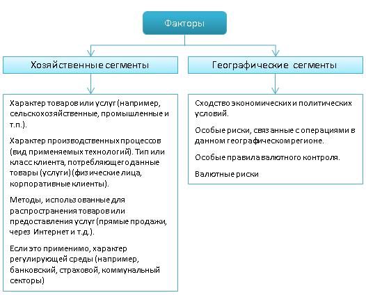 Факторы, учитываемые при выделении хозяйственных и географических сегментов